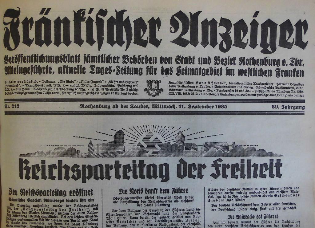 """""""Fränkischer Anzeiger"""" vom 11. September 1935"""