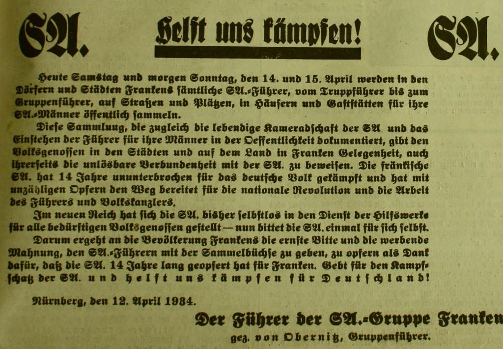 """SA-Ankündigung im """"Fränkischen Anzeiger"""" vom 14. April 1934"""