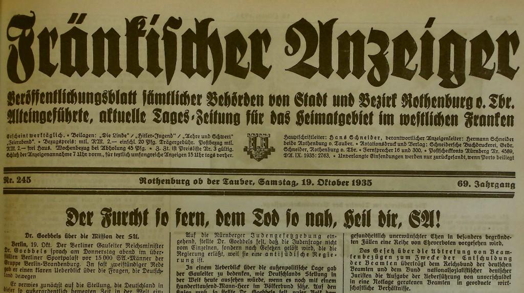 Artikel über die SA in der Lokalzeitung vom 19. Oktober 1935