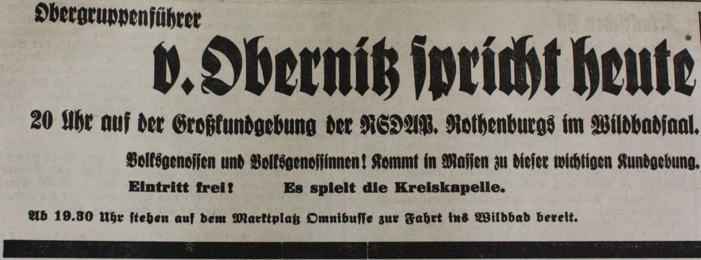 Einladung zur Kundgebung der Partei in Rothenburg (FA 2. Dez. 1938).