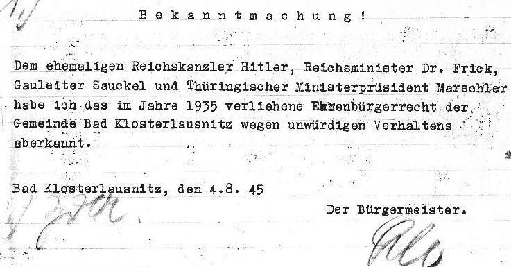 Beispiel eine4s frühen Widerrufs von Ehrenbürgerschaften der Stadt Bad Klausnitz
