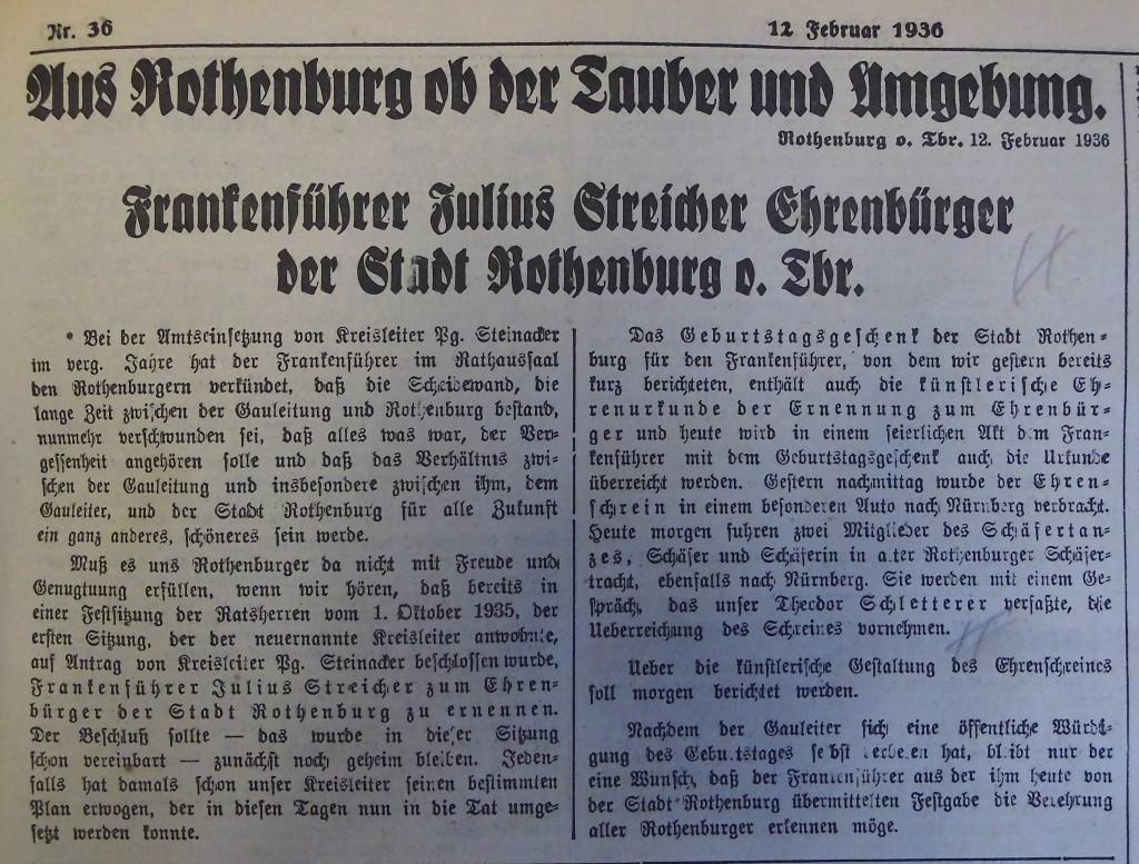"""""""Fränkischer Anzeiger"""" vom 12. Februar 1936"""