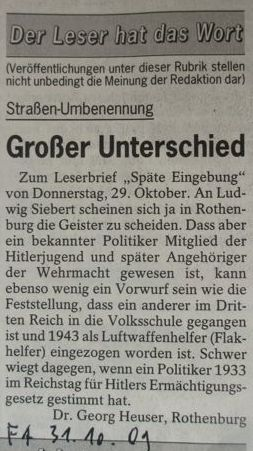 """Leserbrief im """"Fränkischen Anzeiger"""" vom"""