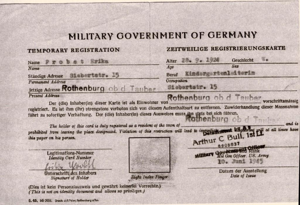 Polizeiliche Anmeldung in Rothenburg 1945