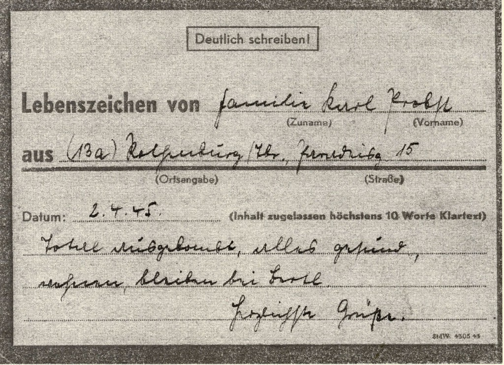 Karteikarte Stadtverwaltung Rothenburg