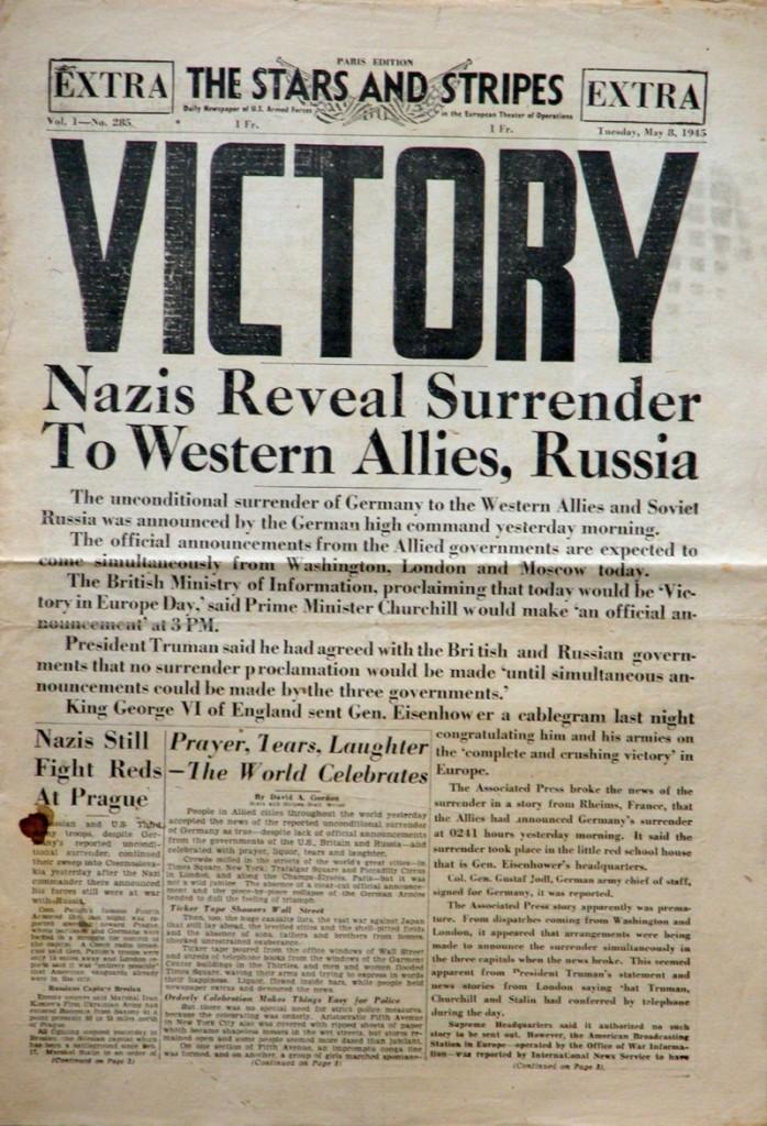 Friede. Erika atmete auf. Keine Tiefflieger mehr! - US-Soldatenzeitung vom 8. Mai 1945