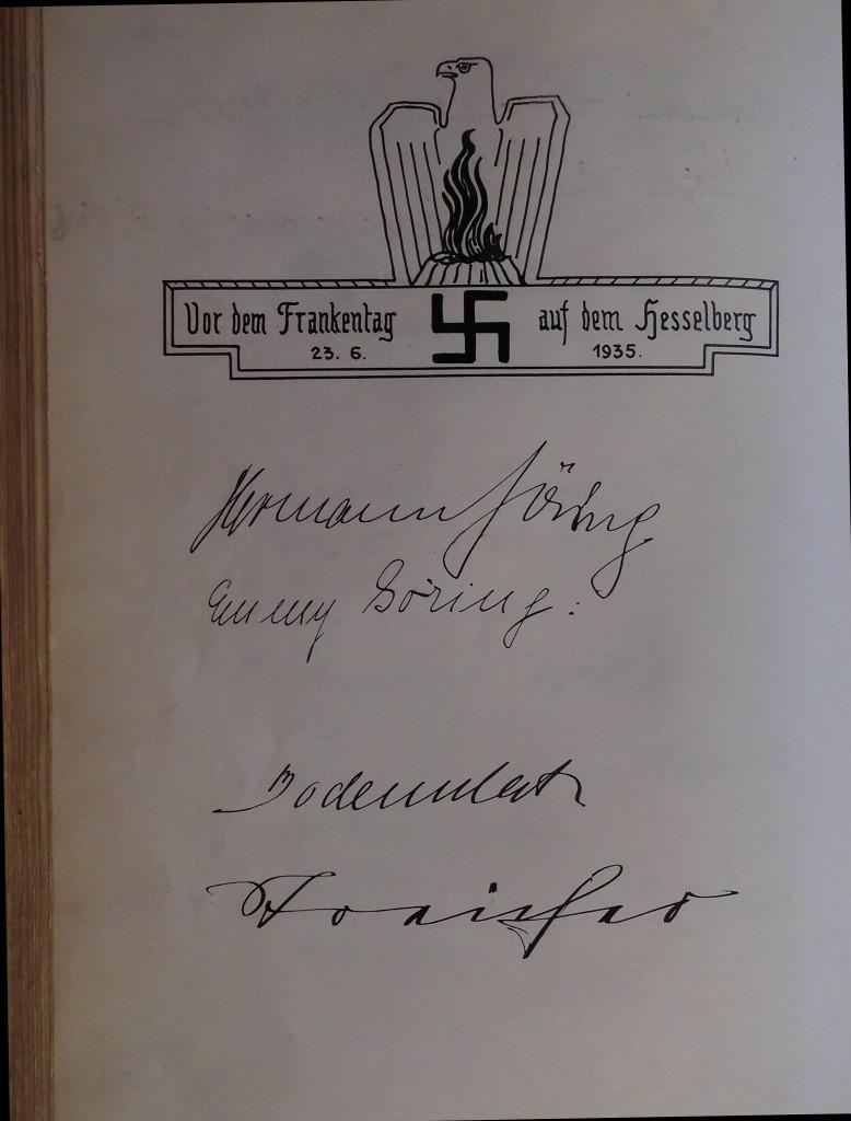 Eintrag 1935: Hermann und Emmy Göring, General Bodenschatz und Gauleiter  Streicher