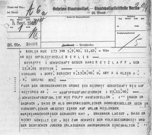 Verfolgung von Homosexuellen: Gestapo-Telegramm