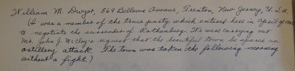 William M. Dweyers Eintrag im Goldenen Buch der Stadt 1951