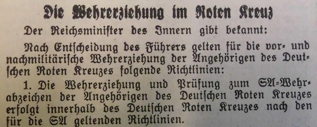 Wehrerziehung beim DRK, Fränkischer Anzeiger vom 30. Mai 1939