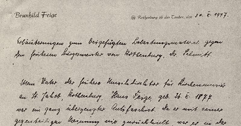 Ausriss des Schreibens der Tochter Feiges an die Spruchkammer Rothenburg