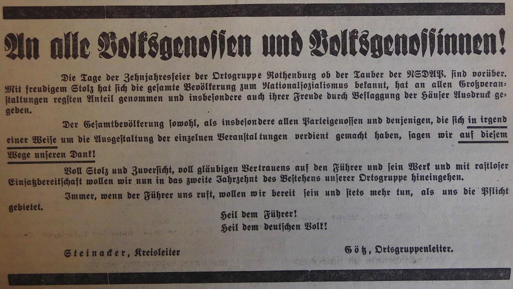 Aufruf des Kreisleitrers Steinacker und des Ortsgruppenleiters Götz im FA 1937