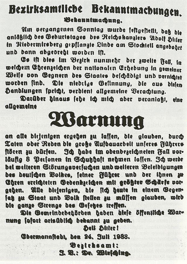 Bekanntmachung Wirschings im Wiesent-Boten vom 25. Juli 1933