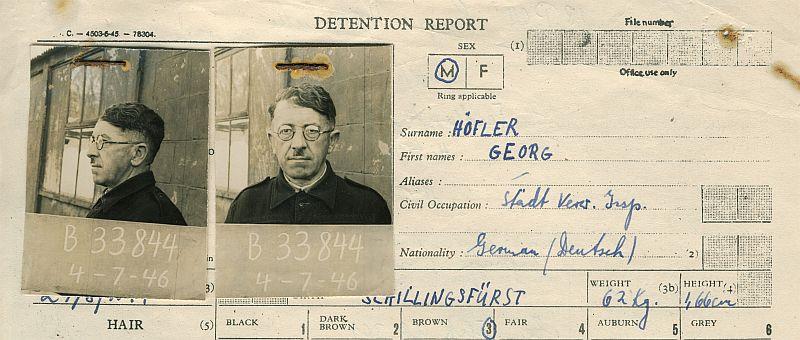 Ausschnitt aus Georg Höflers Frageborgen im Internierungslager