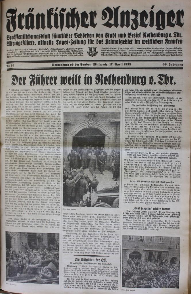 """Der Besuch des Führers auf der Titelseite des Fränkischen Anzeigers"""" vom 17. April 1935"""