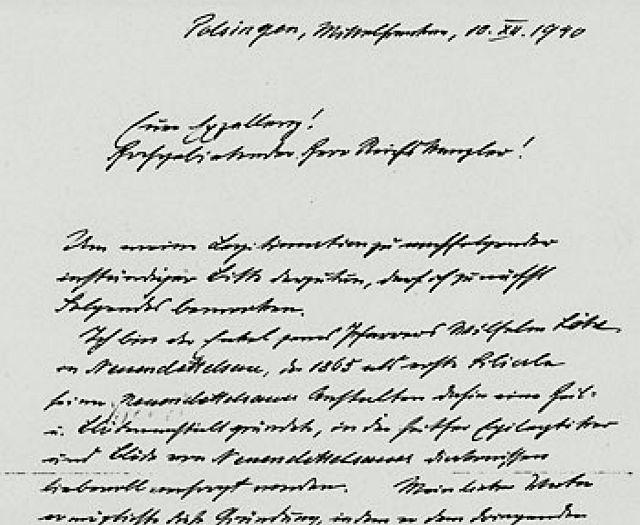 Brief Löhes an Adolf Hirler mit er Bitte, geistig behinderte Menschen zu verschonen