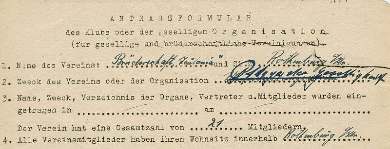 """Wiedergründungsantrag der """"Teutonia"""" 1946"""