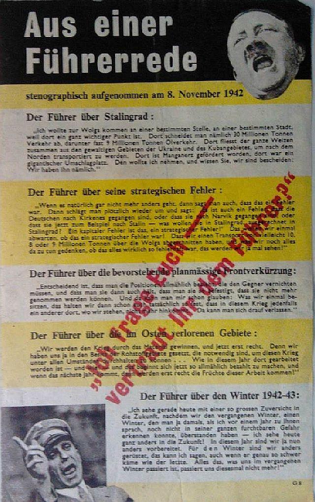 Solche und ähnliche Flugblätter wurden über Deutschland abgeworfen
