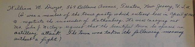 Eintrag William M. Dwyers in das Goldene Buch der Stadt 1951