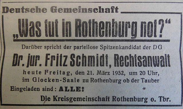 Wahlkampf des früheren nationalsozialistischen Bürgermeister 1952 für die rechte DG