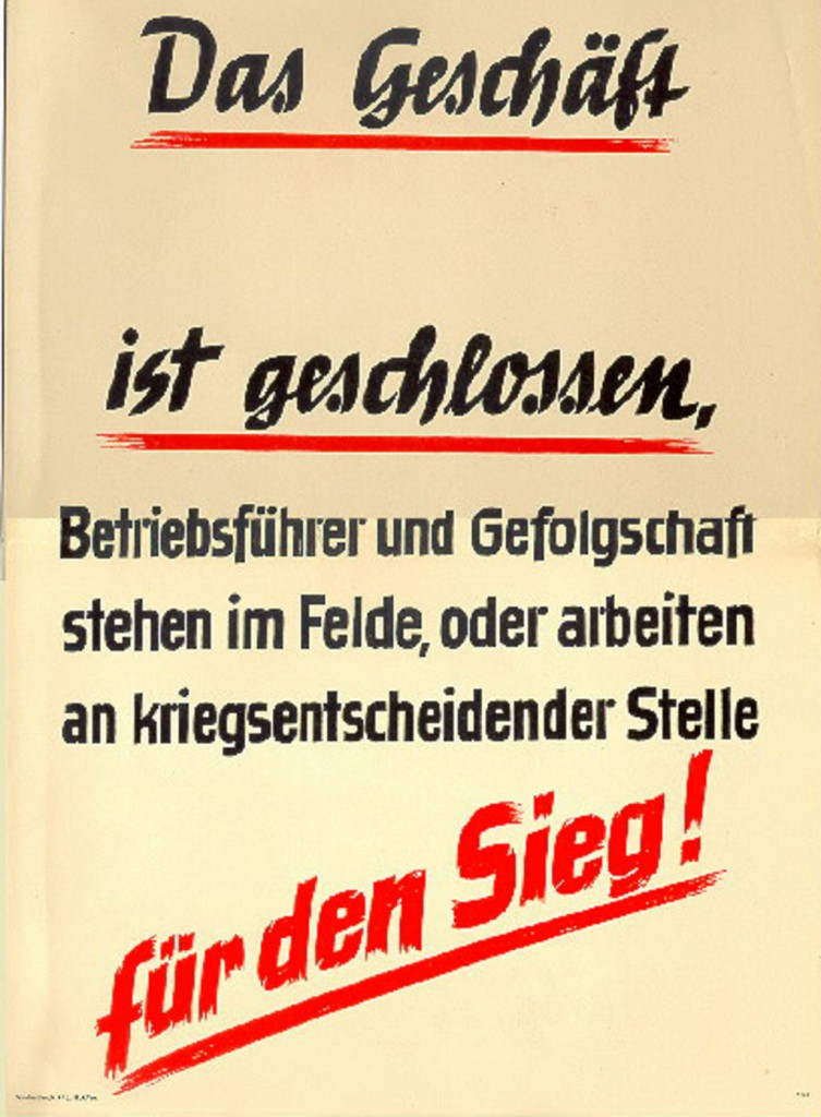 Im Krieg: Plakat am Geschäft