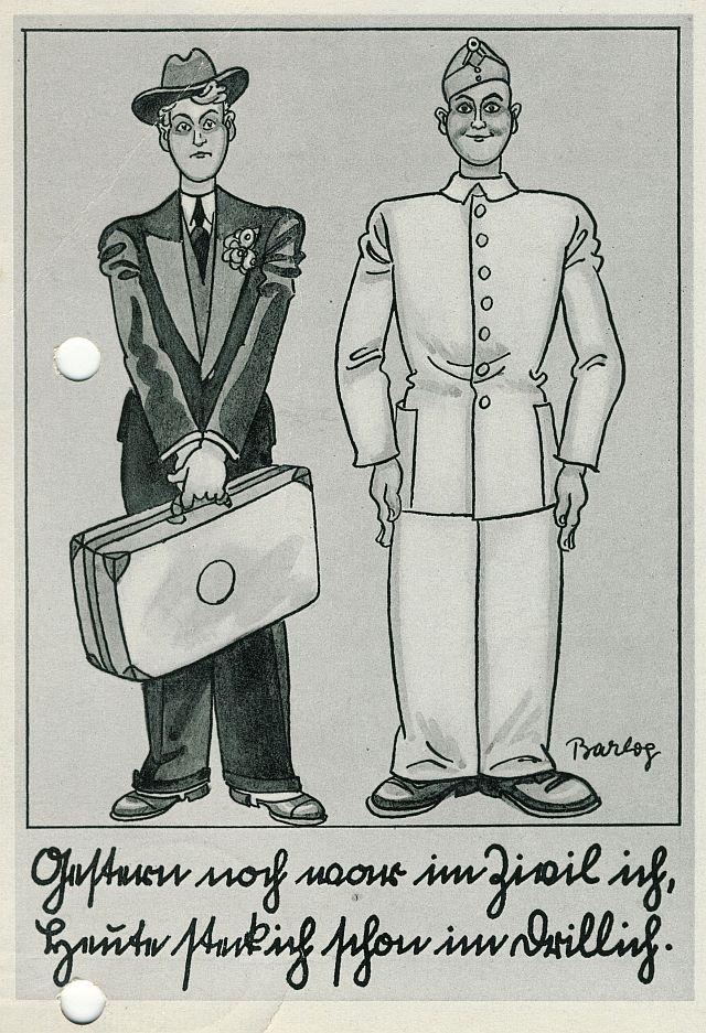 Karikatur-Postkarte zur Wehrpflicht 1935