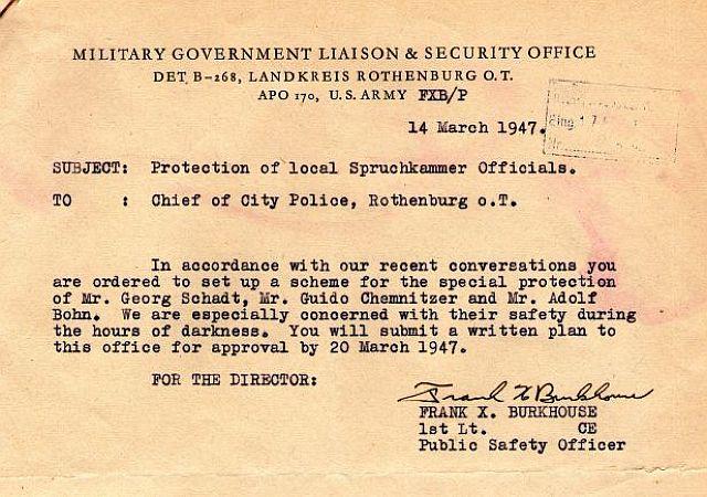 Anordnung der US-Militärregierung, Polizeischutz für den Vorsitzenden und Kläger zu stellen