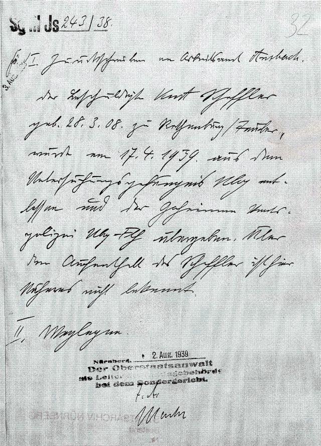 Anmerkung in den Akten: Scheffler wurde der Gestapo übergeben
