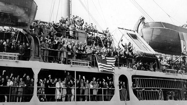 Auswandererschiff nach Amerikas 1952; Foto: dpa