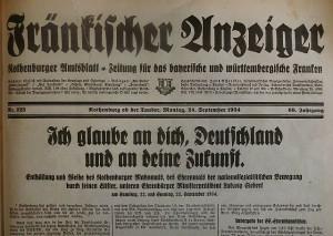 """""""Fränkischer Anzeiger"""" vom 24. Sept. 1934"""