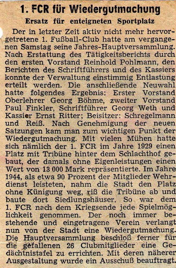 """""""Fränk. Landeszeitung"""" Mai 1952"""