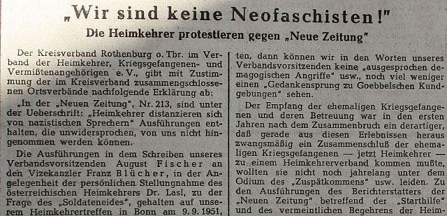 """""""Fränkischer Anzeiger"""" vom 17. September 1951 (Ausriss)"""