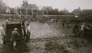 Das Sportstadion in Bau