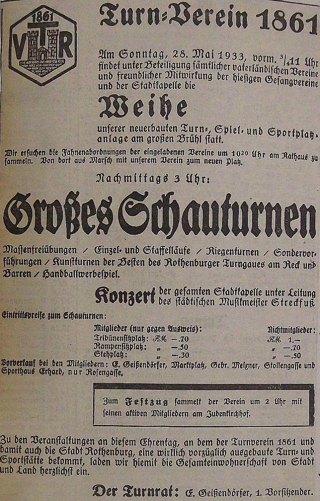 Plakat des Turnvereins zur Eröffnung