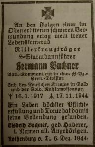 """Todesanzeige im """"Fränkischen Anzeiger"""""""