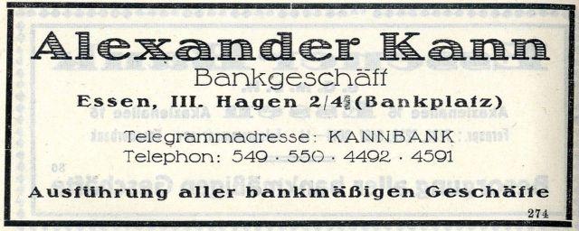 Inserat Bankhaus Kann aus dem Jahr 1924