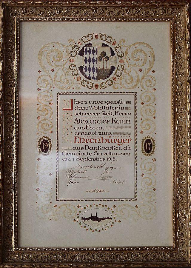 Ehrenbürgerurkunde Kanns