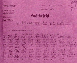 Haftbefehl von 1932