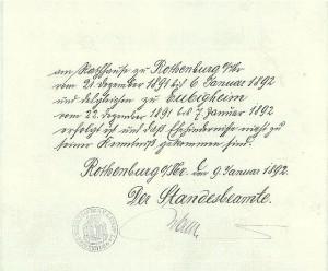 Aushang des Aufgebots am Rothenburger Rathaus