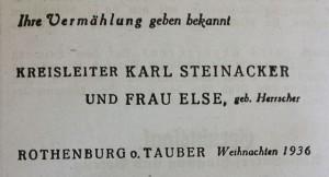 Steinackers Vermählungsanzeige im FA 1936