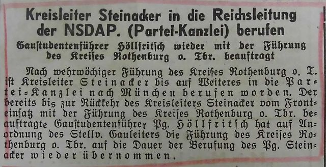 Steinacker nach Wien abkommandiert (Fränkischer Anzeiger)