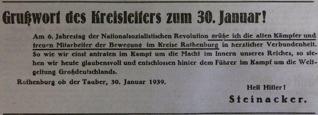 Feierstunde zum 30. Januar im Jahr 1939 in Rothenburg ob der Tauber (FA)