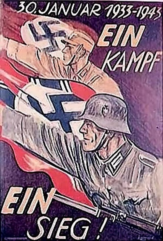 Plakat vom 30 Januar 1939  fordert Kampf und Sieg