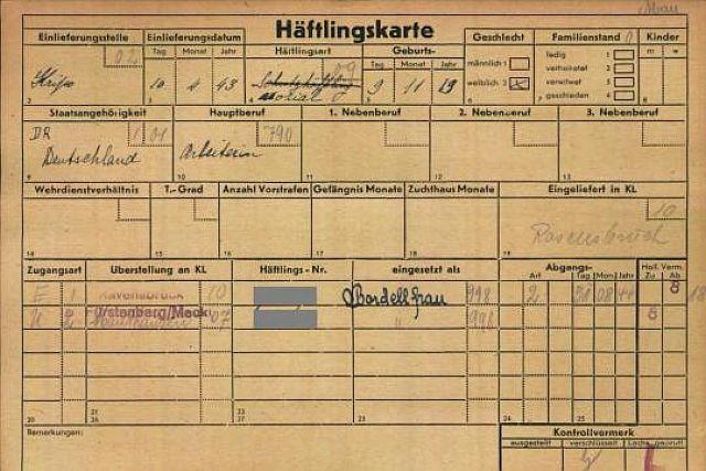Karteikarte einer Bordellfrau im Lager Dachau