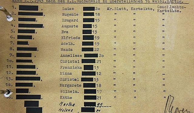Krankenpapiere der am 2. Juli 1943 aus dem KZ Ravensbrück ins KZ Buchenwald überstellten weiblichen Häftlinge, die zur Arbeit im Lagerbordell gezwungen wurden