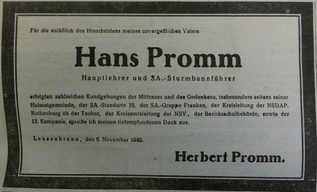 """Todesanzeige im """"Fränkischen Anzeiger"""" vom 6. November 1940"""