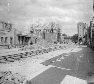 Schienen in der Galgengasse 1945