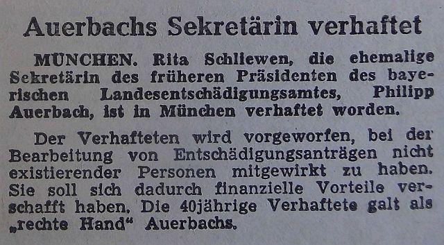 """Meldung im """"Fränkischen Anzeiger"""" vom 10. März 1952"""