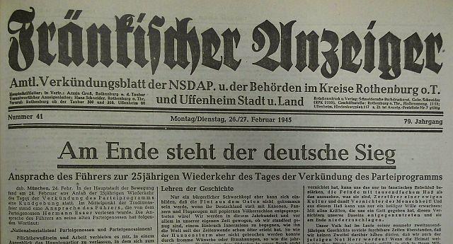 Endsieg-Schlagzeile vom 26./27. Februar 1945