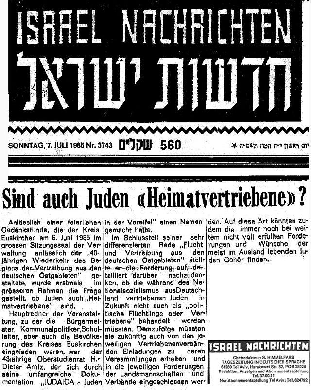 Deutschsprachige Zeitung im frühen Israel